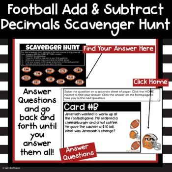 Football Adding and Subtracting Decimals Scavenger Hunt
