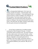 Football Addition Challenge Problems