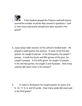 Football Addition Challenge Problems