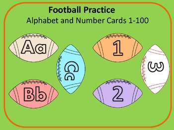 Football Alphabet Flash Cards and Number Flash Cards 1-100