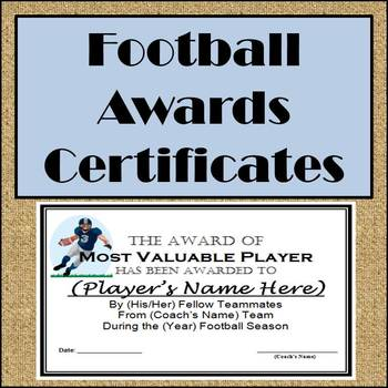 football awards certificates and nomination ballots 9 different awards