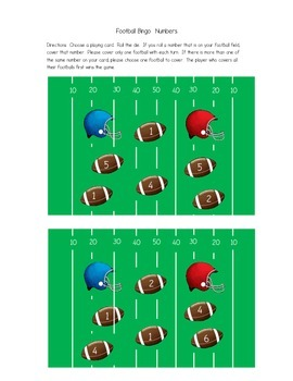 Football Bingo (numbers, addition, and subtraction cards)