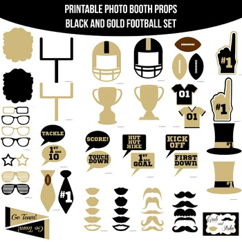Football Black Gold Printable Photo Booth Prop Set