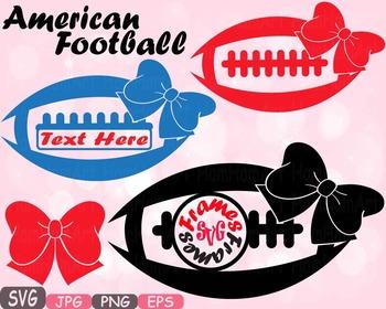 Football Bow Sports Circle & Split Frame Silhouette clipar