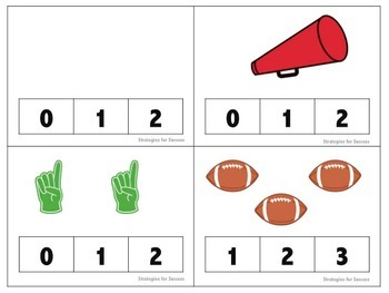 Football Cardinal Counting Clothespin Game