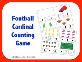 Football Cardinal Counting Clothespin Game
