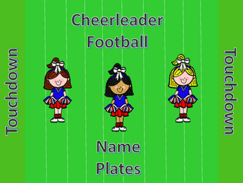 Football Cheerleader Name Plates