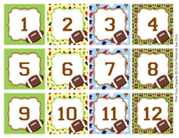 Football Classroom Decor Monthly Calendar Numbers