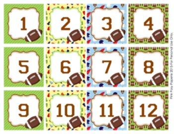 Football Classroom Decor Monthly Calendar Numbers