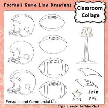 Football Game Clip Art  Line drawings  personal & commercial use