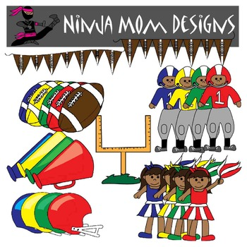 Football Clip Art in Color and Black Line