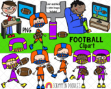 Football Clipart - Boys Playing and Watching Football Clipart