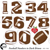 Football Clipart, Dark Brown Numbers Clipart, Sports Clipart, AMB-313