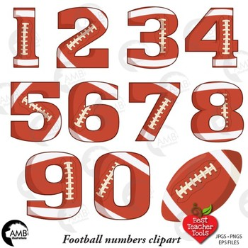 Football Clipart, Numbers Clipart, Sports Clipart, AMB-1843