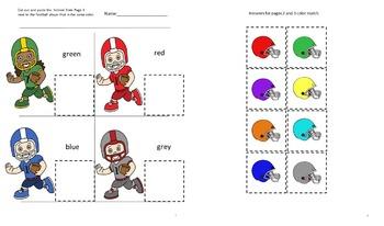 Football Color Match Activities P-K,Kindergarten,Special Education, Autism
