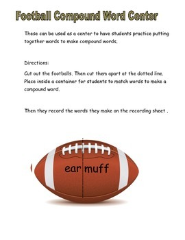Football Compound Word Center Activity