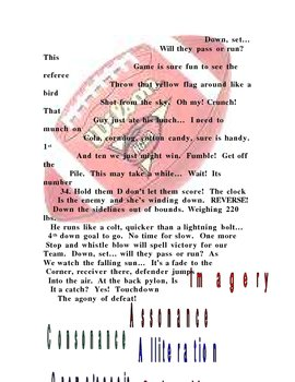 Football Concrete Poem Find Poetic devices