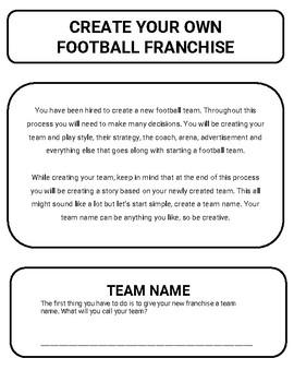 Football: Create a Team Project (Google Classroom)