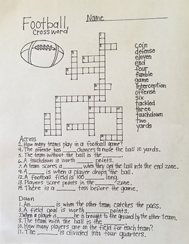 Football Crossword