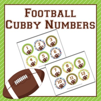Football Cubby Number Labels 1-30