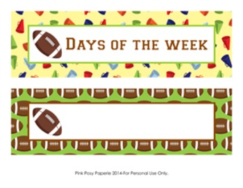 Football Days of the Week Calendar Headers