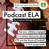 Football Debate 3 Podcasts 15 Assignments - 5 Anchor Standards Distance Learning