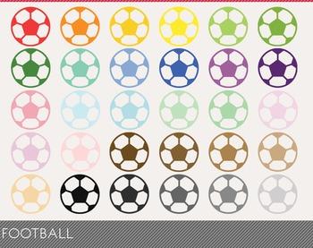Football Digital Clipart, Football Graphics, Football PNG, Rainbow Football