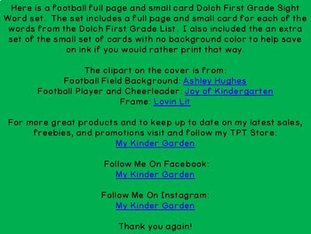 Football Dolch 1st Grade High Frequency Sight Word Flashcards and Posters