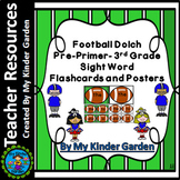 Football Dolch Pre-Primer - 3rd Grade Sight Word Flashcards and Posters Bundle