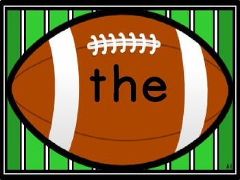Football Dolch Pre-Primer Sight Word Flashcards and Posters