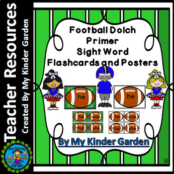 Football Dolch Primer High Frequency Sight Word Cards Flashcards and Posters