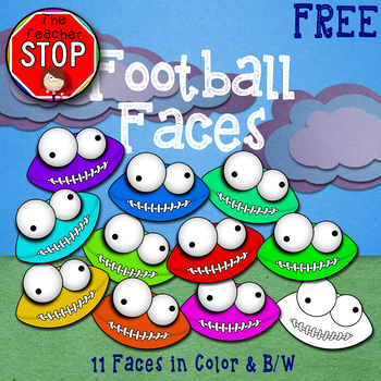 Football Faces Clipart {The Teacher Stop} FREE