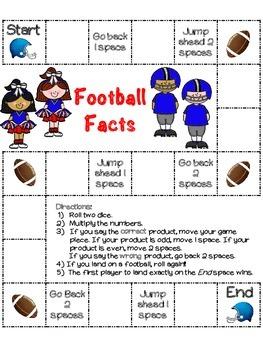 Football Facts (Multiplication): 13 Football board games