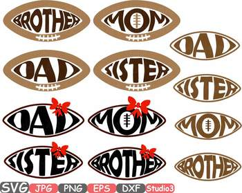 Football Family Silhouette SVG clipart studio 3 mom dad sister brother -739S