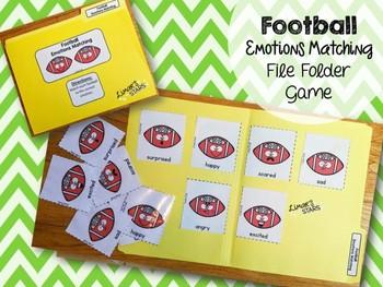 Football File Folder Game:  Emotions Matching