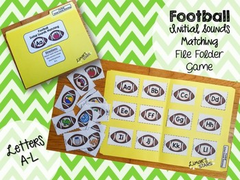 Football File Folder Game: Letter to Initial Sound Matching (A-L)