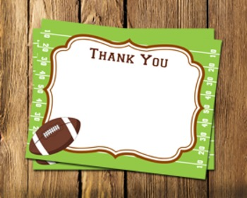 Football Flat Thank You Notes