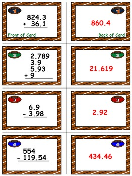 Football Math Skills & Learning Center (Add & Subtract Decimals)