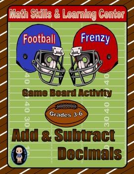 Football Math Skills & Learning Center (Add & Subtract Decimals)