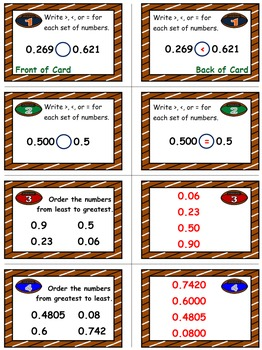 Football Frenzy Game Cards (Comparing & Ordering Decimals) Sets 4, 5, 6