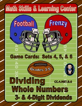 Football Frenzy Game Cards (Division with 3- & 4-Digit Dividends) Sets 4, 5, 6