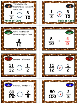 Football Math Skills & Learning Center (Simplify & Compare Fractions)