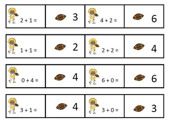 Football Friends Addition and Subtraction Cards for Computational Fluency