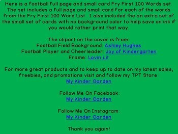 Football Fry 1st 100 Words High Frequency Sight Word Flashcards and Posters