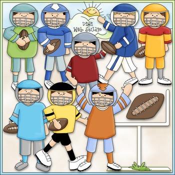 Football Fun Clip Art - Football Clip Art - Football Team - CU Clip Art & B&W