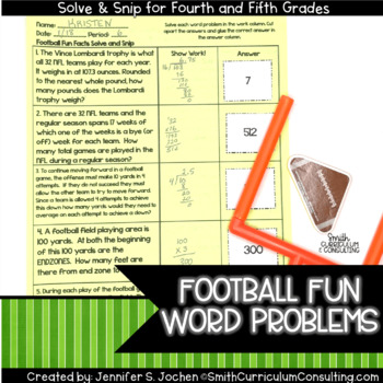 Football Fun Facts (4th-5th) Solve and Snip Interactive Word Problems