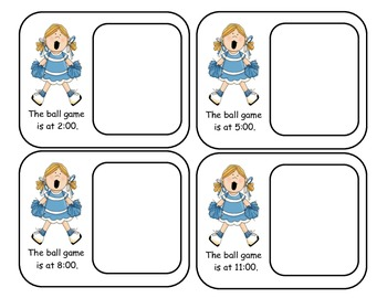 Football Game Time Cards