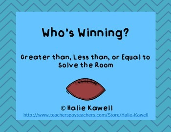 Football Greater than Less than Solve the Room