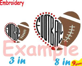 Football Heart Ball NFL Embroidery Machine digital 4x4 5x7 hoop Stiches 103b