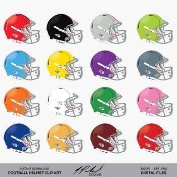 Football Helmet Digital Clip Art -Football Clipart